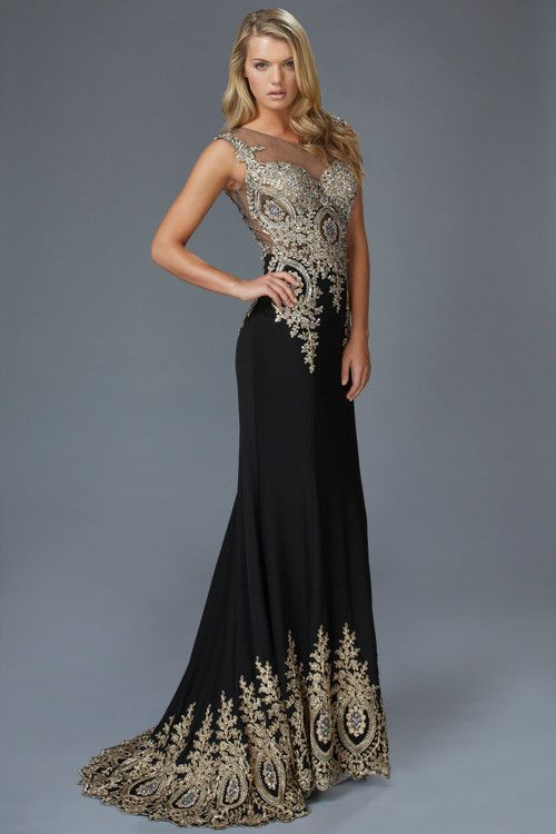 G2166 Metallic Embroidered Jersey High Neck Prom Dress Evening ...