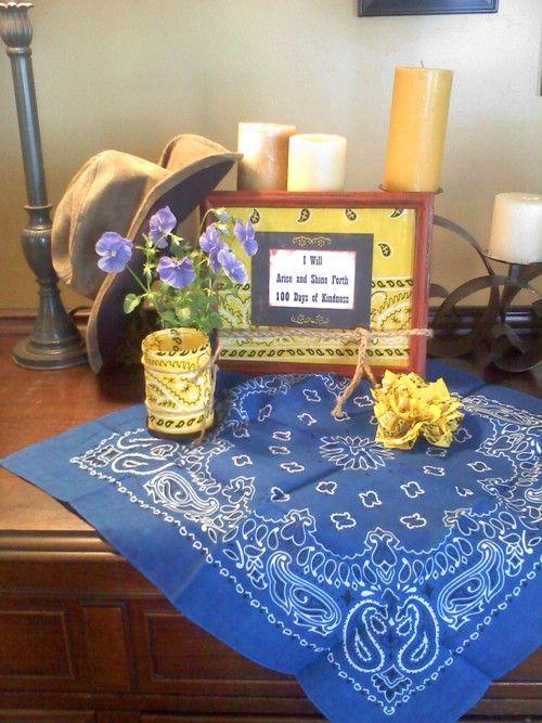 Cowgirl bandanna crafts...frame, votive holder/vase, flower