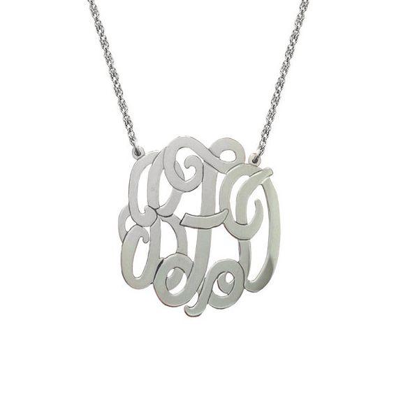 ATLANTA Silver Monogram Necklace 1 inch Personalized by BettyZdesigns
