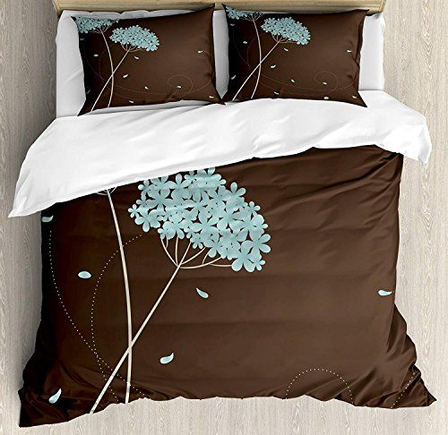 Brown And Blue Twin Bedding Duvet Cover Set 4 Piece Hotel Quality Luxury Soft Brushed Microfiber Floral Design Duvet Cover Sets Fall Bedding Blue Duvet Cover