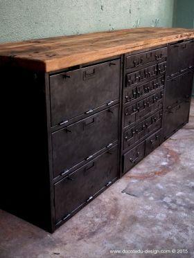 enfilade industrielle 6 compartiments 18 tiroirs atelier militaire plateau vieux chene massif