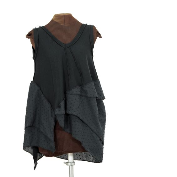 time-out-ny, asymmetric black tunic with layers of swiss dot - Secret Lentil Clothing