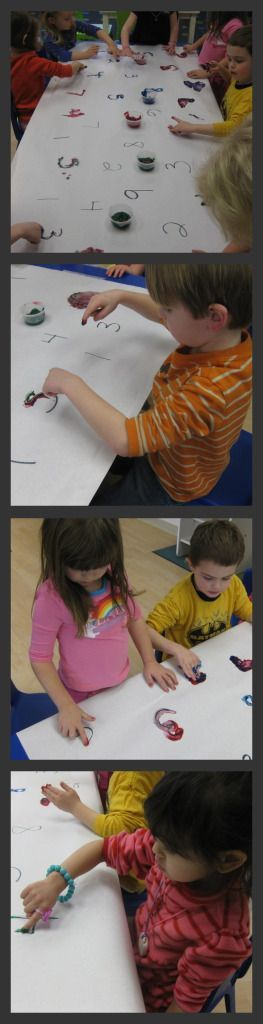 Number Writing Practice - trace, write, paint over numbers using fingers, etc.