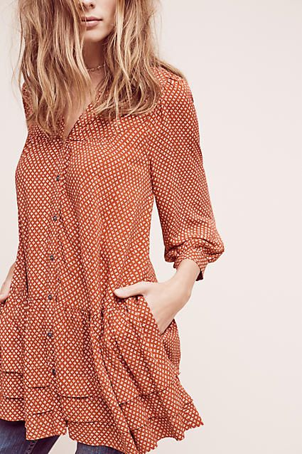 Pavin Buttondown Tunic. Loose and relaxed, this tunic is perfect for a down time outfit. Pair with jeans and sandals while the weather is warm and layer chunky knits when the season begins to turn