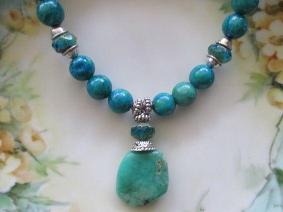 Chrysocolla necklace by StoneworksByJan on Etsy