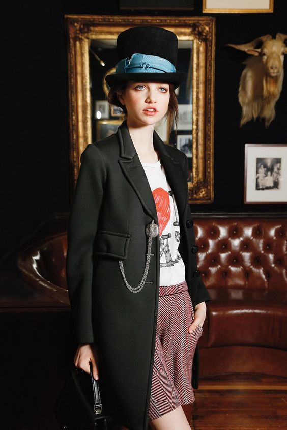 Fall 2013 Trend: Fine and Dandy (Sonia by Sonia Rykiel's modern-day topcoat, done in Neoprene and worn with the label's cotton T-shirt and shorts and an Albertus Swanepoel top hat.)