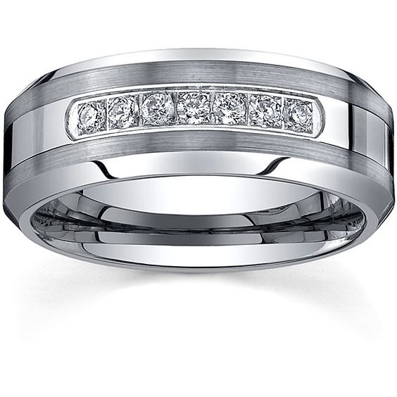 Ever e Men s Tungsten Carbide 1 5ct TDW Diamond fort fit Band 8 mm