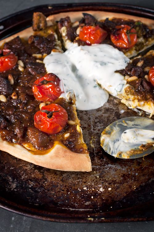 Lamb, Fig, Date Pizza w/ Minted Yoghurt + Buttery Pomegranate Couscous + Roasted Spiced Chickpeas