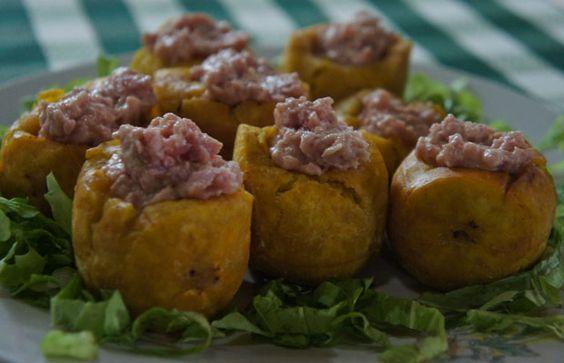 "Cuban Food.  ""Tostones Rellenos"""