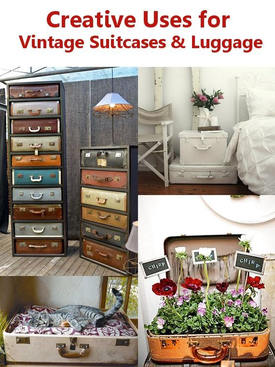 Creative uses for vintage suitcases vintage suitcase repurpose pinterest something new - Repurposing old suitcasescreative ideas ...