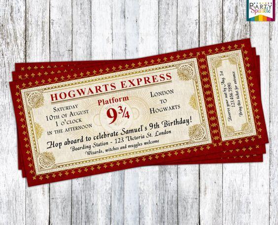 Hogwarts Express Ticket Invitation - Harry Potter Birthday Party Invite - Personalized Digital Printable Invitation .pdf