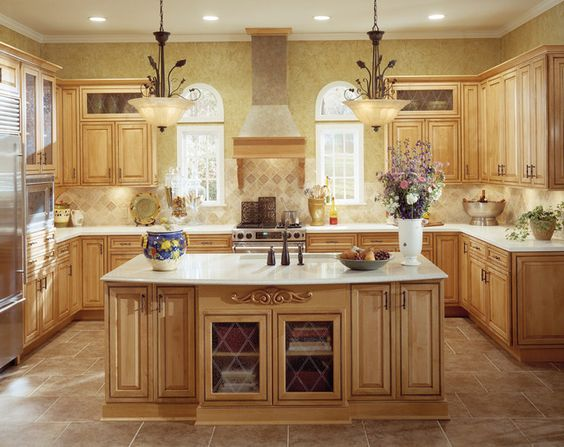 Maple cabinets with white counters and brown tile what i for Bleached maple kitchen cabinets