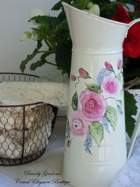 French farmhouse fleur pitcher Handpainted Shabby Chic Motif  $35  SOLD www.casualeleganceboutique.com