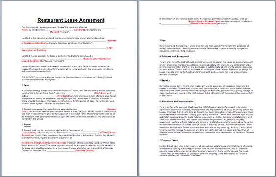 Restaurant Lease Agreement Template business templates - editable lease agreement template