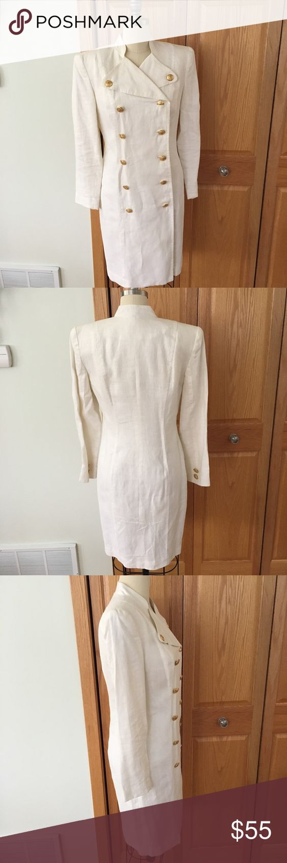 Robert Riel of NY for Neiman Marcus coat dress👗 100% linen white coat dress - double breasted for Neiman Marcus Robert Riel for Neiman Marcus Dresses