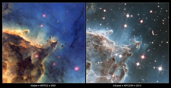 ESA Science & Technology: Visible and Infrared Comparison of NGC 2174