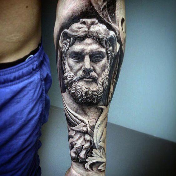 Realistic 3d Stone Hercules Inner Forearm Sleeve Tattoos For Guys
