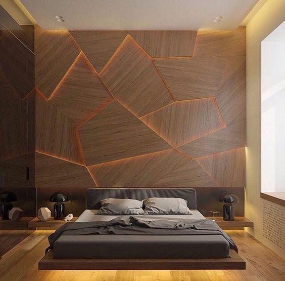 Painel incrível 3D na parede da cabeceira