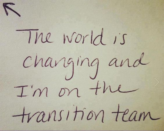 The world is changing and I'm on the transition team.