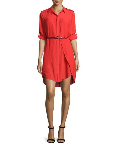 TBAPJ Halston Heritage Long-Sleeve Belted Shirtdress, Lipstick