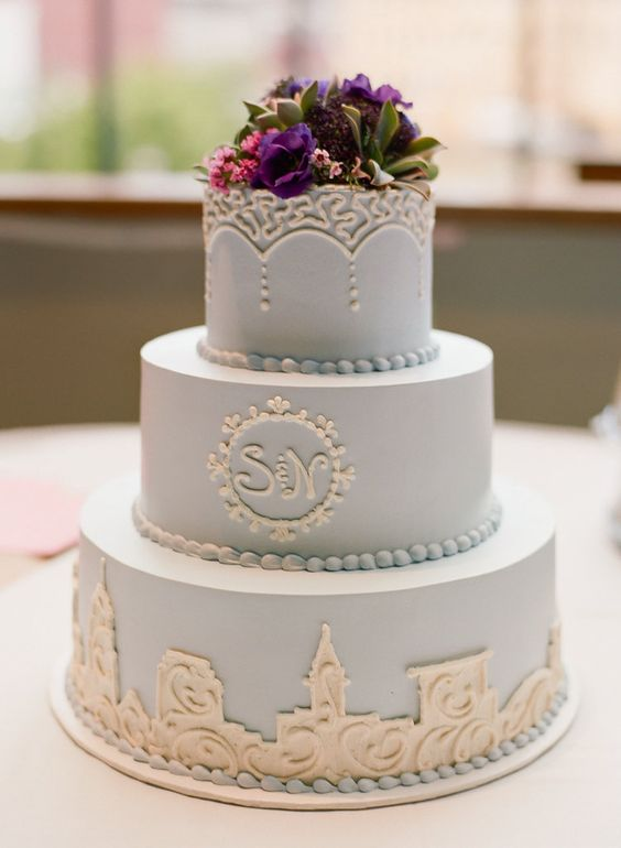 Real Cleveland Wedding at Windows on the River, pretty pale blue cake by Wild Flour Bakery