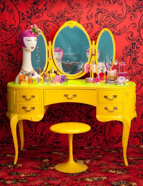 Tarina Tarantino Vanity.: Yellow Vanity, Interior Design, Dressing Tables, House Ideas, Color, Kids Room, Vintage Vanity, Vanity Table, Bedroom Ideas