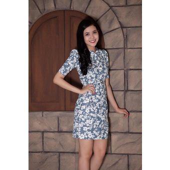 K&K Fashion KK36-57 - Đầm công sở / Xanh họa tiết trắng