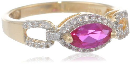 18K Gold over Sterling Silver Created Ruby and Created White Sapphire Ring, Size 7