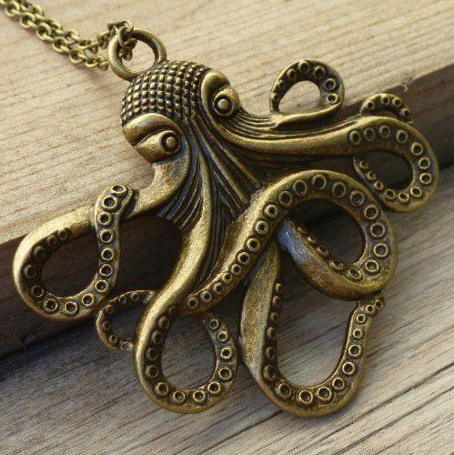 Steampunk Octopus Nautical Pirate Necklace Pendant Charm -  #Charm, #Nautical, #Necklace, #Octopus, #Pendant, #Pirate, #Steampunk