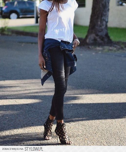 Pin By Dominika Jurek On Fajne Stylizacje Fashion Leather Pants Knee Boots