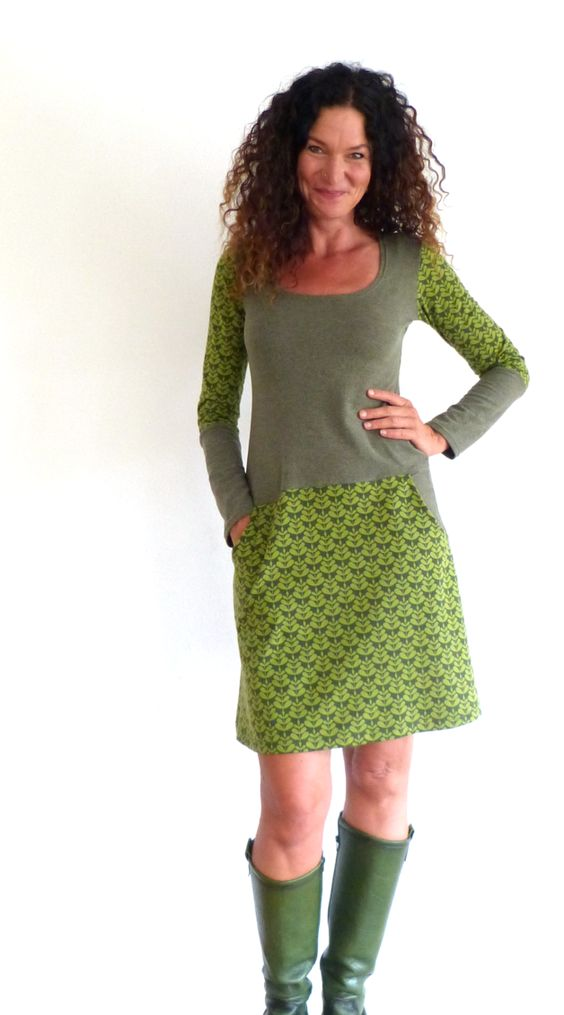 Knielange Kleider - Kleid mit Taschen, mit Bio-Cotton - oliv, grün - ein…