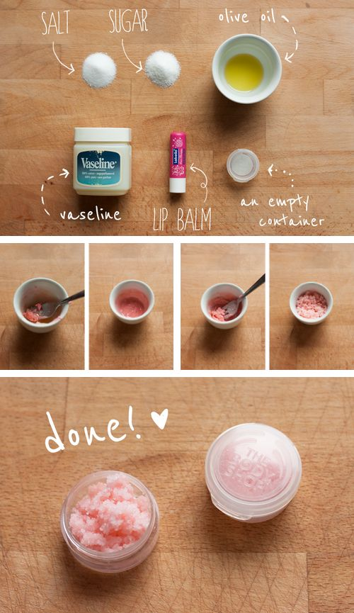 DIY lip scrub. My lips have never been as chapped as this year. I tried it once and so far so good! It got all the dead skin off. (I will omit the salt next time...didn't like the taste):