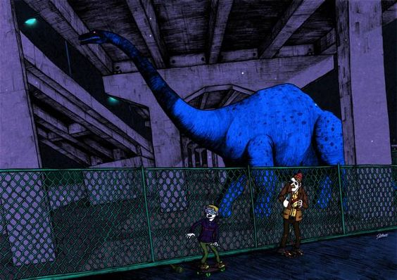 高架下の恐竜