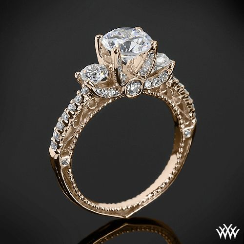 Rose Gold Verragio Beaded 3 Stone Engagement Ring From The