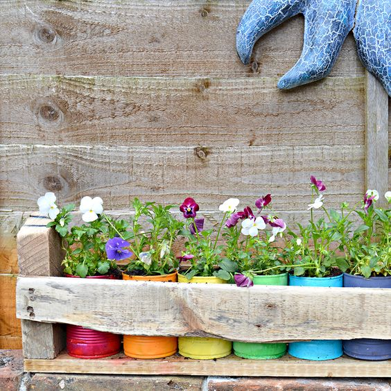 Colourful upcycled tin can planters in pallet trough: