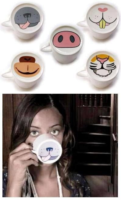 Coffee MUGS also double up as animal masks. Apparently.::