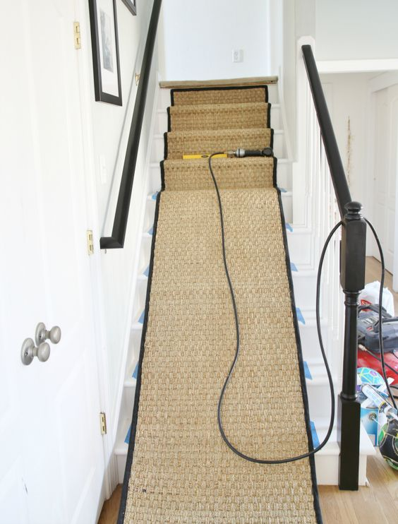 Painted staircases, Staircase makeover and Stair runners on Pinterest