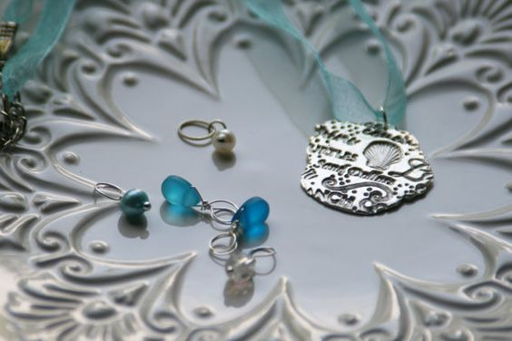 Carmel #Ocean Themed Fine Silver #Necklace With 5 by MaryJaeDesigns, $45.00