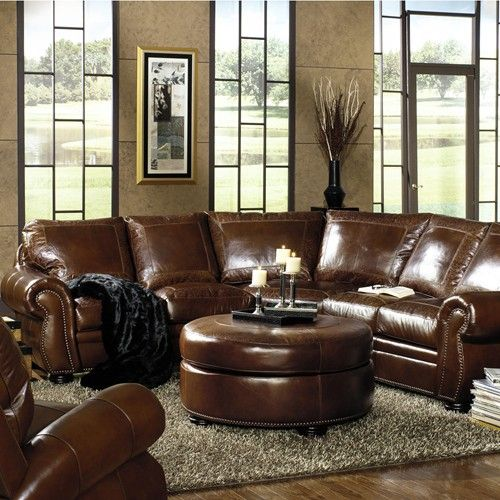 Traditional Living Room Leather Furniture: Traditional Leather Sectional With Paisley Embossed