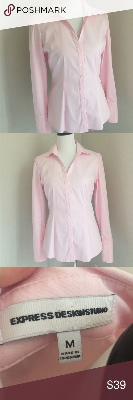 """Express Pink Button Down Express Pink Button Down; size medium 19.5"""" underarm to underarm and 25"""" length. Barely worn and in excellent condition. Pair it with a pencil skirt from my closet  Express Tops Button Down Shirts"""