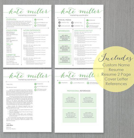 Resume Template CV Template for Word 4 Pack + social media icons - header for resume