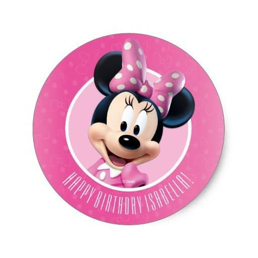 (Minnie Pink and White Birthday Classic Round Sticker) #Birthday #Disney #DisneyBirthday #GirlBirthday #Kids #Minnie #MinnieBirthday #MinnieMouse #Party is available on Famous Characters Store   http://ift.tt/2atZ5S4