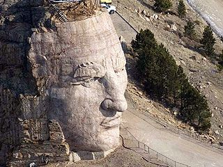 Crazyhorse Monument, Black Hills, South Dakota.  The building of the monument is still in process...you can watch them work and see the final plan.  I brought home a chunk of granite they blasted off the hill....it is in my rock garden.