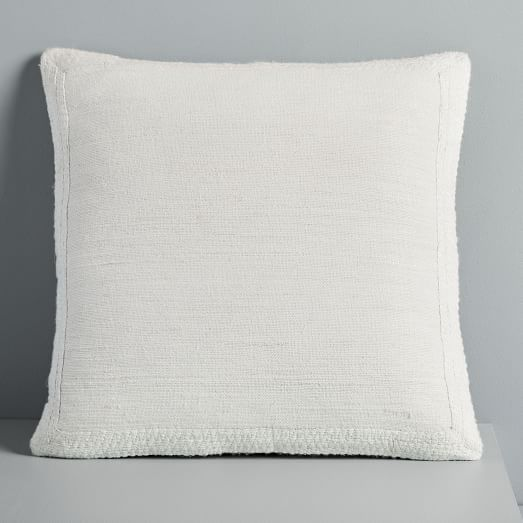 Textured Border Pillow Cover Stone White Pillows Pillow Covers White Accent Pillow