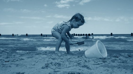 Building Sand Castles at the beach.