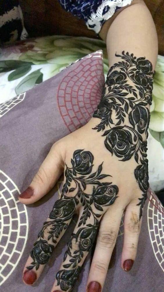 صور نقش الحناء Rose Mehndi Designs Floral Henna Designs Henna Flower Designs