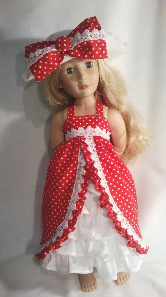 A Girl for all time hand made red and white polka by Gwendollys