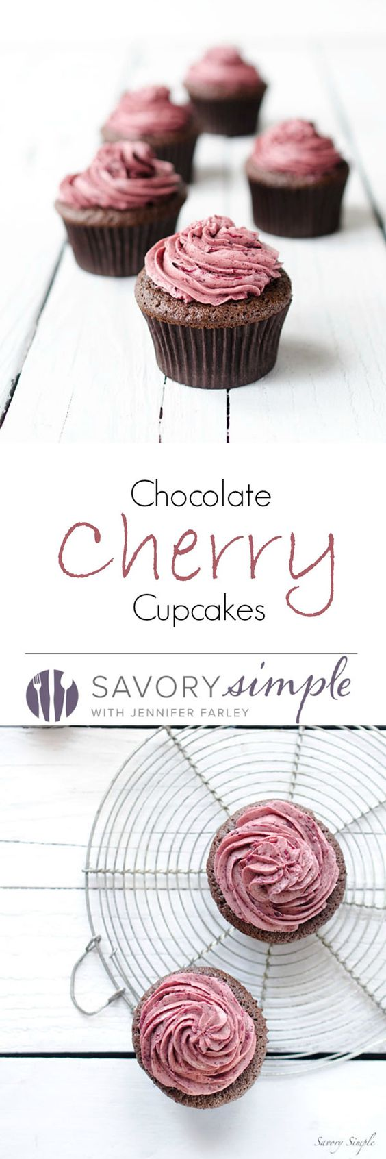Chocolate Cherry Cupcakes - These rich chocolate cupcakes are topped with a light meringue-based cherry buttercream. Get the recipe from SavorySimple.net.