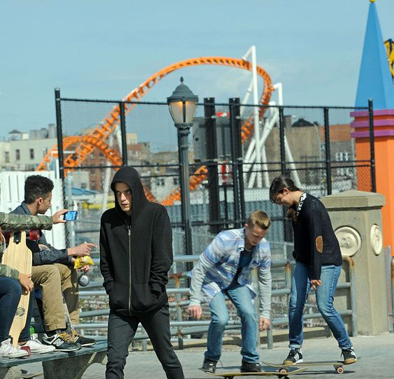 Mr. Robot: Rami Malek on set in Coney Island {behind the scenes from April 2015} #MrRobot #RamiMalek #ElliotAlderson #ConeyIsland #OnSet #BehindtheScenes: