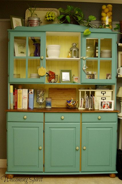 Kitchen painted teal ikea hutch color inspiration teal for Teal kitchen cabinets